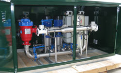 Dual VMS system with iCON controller, automatic filtration and dual outlets (complete with individual analogue flow meters) in a custom-built powder-coated pump shed